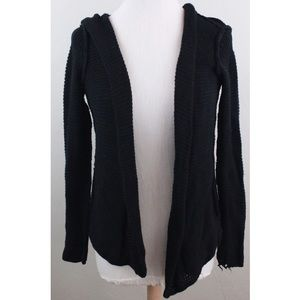 Olive & Oak Black Knitted Cardigan Hooded Open